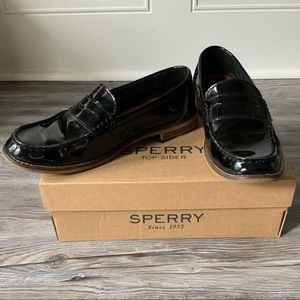 Sperry Black Seaport Penny Patent Loafers